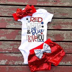Red White and Blue I Love You 4th Of July Baby Girl Bodysuit, Sparkle, Glitter, Summer, Fireworks, Mommy,Daddy, Shorts, Bow, America, Murica by GLITTERandGLAMshop on Etsy https://www.etsy.com/listing/279918494/red-white-and-blue-i-love-you-4th-of