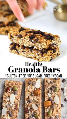 Healthy Granola Bars, Chewy Granola Bars, Keto Granola, Low Carb Granola Bars Recipe, Snack Recipes, Dessert Recipes, Breakfast Recipes, Free Breakfast, Kitchen Recipes
