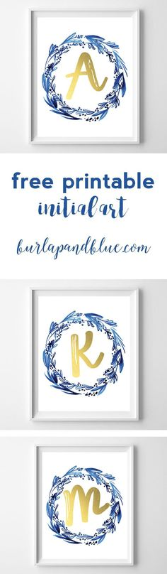 free printable initial art {indigo + gold}