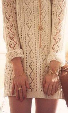Ажурный узор спицами для пуловера. Схема
