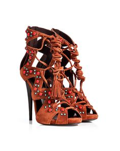 Statement-making with a Boho twist, these lace-up gladiator sandals from Giuseppe Zanotti feature rich chestnut suede and two-tone stone embellishment. A tasseled lace tie lends a hippie-chic finish to this bold platform silhouette #Stylebop