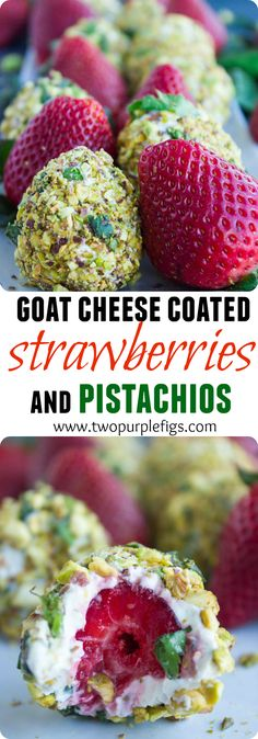Goat cheese Pistachio Coated Strawberries. A  bite of fruit and cheese BLISS with a pistachio crunch! Each bite is sweet, crunchy, fresh, refreshing and bursting with flavors! This recipe has been a real HIT every single time! Get the step-by-step recipe now! www.twopurplefigs.com