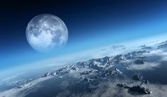 Planet Earth icy ocean and rocky islands with moon seen from space (Texture moonmap for 3d art from NASA)