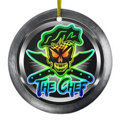 Chef Skull Christmas Ornament:  A cool abstract neon outlined chef skull with crossed knives against a metallic-like background. This culinary themed skull chef ornament makes a great gift for those with a fierce passion for cooking. Visit www.zazzle.com/thechefshoppe to see more cool culinary themed skull chefs.