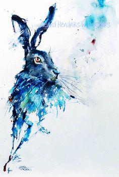 Hare 50x 38 Gerard Hendriks Watercolor