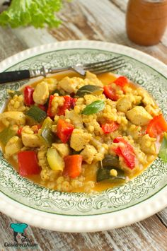 Kaszotto z papryką, cukinią i kurczakiem Diet Recipes, Healthy Recipes, Chana Masala, Curry, Food Porn, Food And Drink, Rice, Dinner, Vegetables