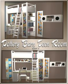 Pas' Pottery Barn Teen's Room Set - bedroom furniture for teens Sims 4 Mods, Sims 3, The Sims 4 Pc, Sims 4 Teen, Sims Four, Sims 4 Toddler, Pottery Barn, Muebles Sims 4 Cc, Sims Packs