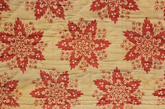 Antique French block printed fabric from a quilt c1810