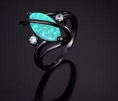 Green Fire Opal Black Gold Promise Rings