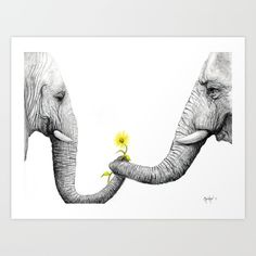 """""""Up Close You Are More Wrinkly Than I Remembered"""" Mini Art Print by christinecholowsky Framed Art Prints, Canvas Prints, Love Anniversary, Elephant Love, Elephant Artwork, Expo, Art Drawings, Sketches, Fine Art"""