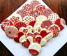 Red and white color themed custom 80th birthday cookies- with lace, ruffle, and swirl piping.