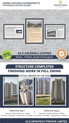 GLS Arawali Homes Possession Soon 📞To Know More : 01139589767 ✅No Maintenance For 5 Yrs. ✅Bus Shuttle Service ✅Shopping Complex ✅Community Centre RERA Approved Reg No Affordable Housing, Retail Shop, Acre, Sculpture Garden, Homes, Cricket, Apartments, Centre, Tennis