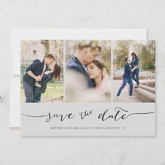 Hand Lettered 3 Image Light Grey Save The Date