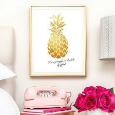 pineapple wall art gold pineapple by IKnowimPerfectPrints on Etsy http://etsy.me/2j3VvGP