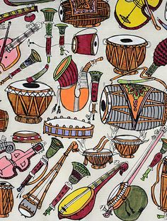 Musical Instruments Drawing, Indian Musical Instruments, Feather Art, Tree Wall Art, Doodle Patterns, Swirl Design, Indian Paintings, Online Painting, Fabric Painting