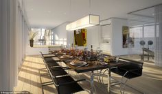 High tea: The Palace in The Sky Penthouse has a 12-seater dining room, pictured, which looks out on to the plunge pool and decking areas