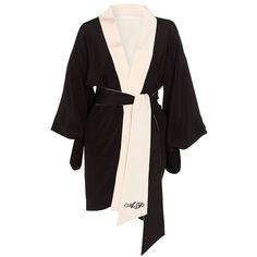 Agent Provocateur Kiki Kimono ($720) ❤ liked on Polyvore featuring intimates, robes, kimono dressing gown, kimono robe, agent provocateur, robe kimono and kimono bathrobe