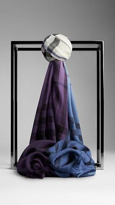 Burberry Lupin Check Ombre Wool Silk Scarf