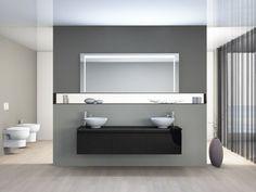 Mia Badmöbel 172cm mit Keramikwaschbecken rund -... Bathroom Lighting, Mirror Glass, Bathrooms, Furniture, Home Decor, Guest Toilet, Round Round, Homes, Bathroom Light Fittings