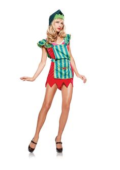 """'""""3pc. Workshop Elf; includes a stretch velvet v-neck mini dress with adjustable straps and zig zagtrim; striped apron with scalloped straps; large button accent; gold ribbon trim and over sized pocket; matchign hat with bell.""""'"""