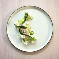 Halibut Poached in Sour Butter, Green Apple with Fennel, Pickled Ramson and Parsley