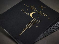 Christmas card Dirix-Van Hoof - design: Patrizia Enna - paper: recto Colorplan black, verso Colorplan white - print: gold foil printing letterpressgust.com