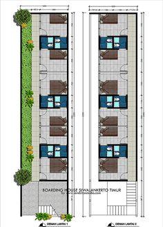 rumah kos di lahan memanjang Guest House Plans, Small House Floor Plans, Home Building Design, Building A House, Plano Hotel, Studio Apartment Floor Plans, Hotel Bedroom Design, Hotel Floor Plan, Modern Small House Design
