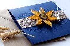 Sunflower wedding invitation/Handmade wedding invitation/Blue navy invitation/Burlap invitation/Rustic invitation/Burlap wedding by mirelaemilia on Etsy