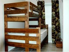 DIY Bunk Beds... I like this idea for the kids!!