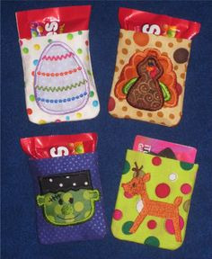 Holiday Mini Treat Sacs Embroidery Machine Designs for the 4x4