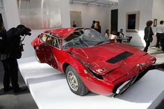 "This wrecked Ferrari by French artist Bertrand Lavier, titled ""Dino,"" sold for..."