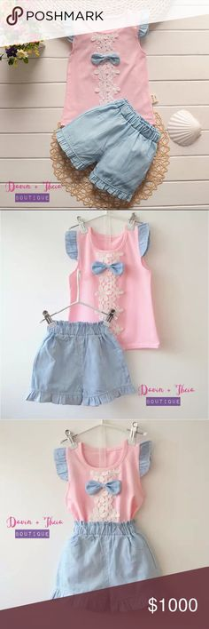 """Coming SoonPink Matching Set for Girls BRAND NEW  Adorable matching set of pink sleeveless top and chambray shorts for your little girl.  Will update description for measurement once the items arrive.  Submit your offer thru the """"Offer"""" button NO Price discussion in the comment NO Lowballing NO Trades Davin+Theia Matching Sets"""