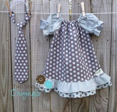 Reserved for Christine - Brother and Sister Matching Outfits - Boutique Peasant Dress & Little Boy Necktie - Hometown Gray Sewing Kids Clothes, Sewing For Kids, Little Girl Dresses, Girls Dresses, Girl Outfits, Picture Outfits, Easter Outfit, Baby Sister, Brother Sister