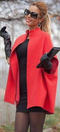 I love the coat, gloves and purse--- but I would wear a slightly longer dress