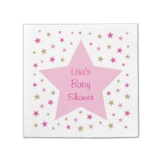 Pink Gold Twinkle Star Personalized Napkins Standard Cocktail Napkin