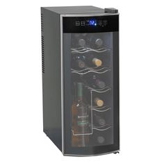 Keep your favorite wines chilled and ready-to-serve with this Avanti wine cooler. This sleek black wine refrigerator features a curved glass door to add a modern look to your kitchen or bar area and c