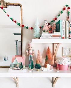 Merry Little Christmas, Christmas Love, All Things Christmas, Winter Christmas, Vintage Christmas, Whimsical Christmas, Christmas Trees, Diy Christmas Village, Christmas Mantles