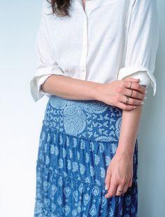 camisa linho {ref. 513337} saia jeans est. {ref. 513530} kit anéis slim {ref. 513606}