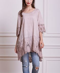 Another great find on #zulily! Pink Embroidered Hi-Low Tunic - Plus #zulilyfinds