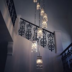 This staircase chandelier is designed to illuminate each level of the house equa. This staircase c Villa, Light Effect, Contemporary, Modern, Sparkle, Ceiling Lights, Interior Design, Crystals, Lighting