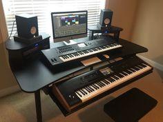 My home recording setup. Korg Kronos 88, Yamaha Motif XF-7, Ableton Push, Apple iMac Focusrite Scarlett 18i20, Furman PL-Plus 15A, Running Logic X, and Cubase 8.