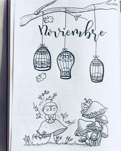 Bullet journal monthly cover page, November cover page, bird drawings,  mushroom drawing.  @bujoandletters