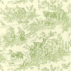 CHATEAU DU LOIR Wallpaper Collection Toile Portfolio Colorway Red on Cream Green on Off-White