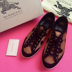 Burberry Heart Print Calfskin Sneakers 100% authentic Burberry sneakers. Excellent condition, worn only two times!!! They are like new (pictured), original box, dust bag included. Rare heart print Leather insole, real pony hair upper, rubber sole. Size 38 (US 8). No trade. Burberry Shoes Sneakers