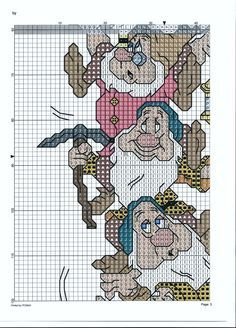 SCHEMA I SETTE NANI FOGLIO 3 Disney Cross Stitch Patterns, Cross Stitch For Kids, Counted Cross Stitch Patterns, Cross Stitch Embroidery, Disney Quilt, Stitch Cartoon, C2c Crochet, Needlepoint Patterns, Sette Nani
