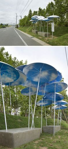 A Bus Stop Shelter Made Of Permanently Installed Umbrellas // Japan
