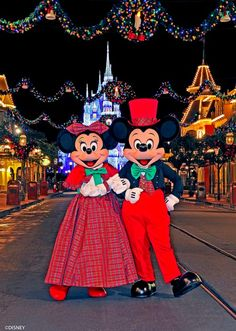 Mickey and Minnie dressed up for the holidays