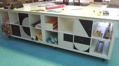 Turn IKEA Expedit shelves into work island.