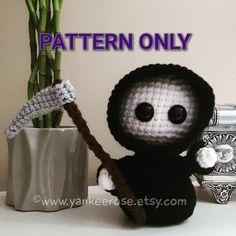 Baby Grim Reaper Amigurumi Doll - CROCHET PATTERN ONLY Crochet Animal Patterns, Stuffed Animal Patterns, Crochet Patterns Amigurumi, Amigurumi Doll, Crochet Animals, Crochet Dolls, Cute Crochet, Crochet Baby, Flower Embroidery Designs