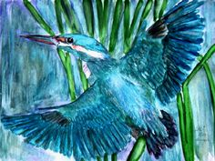 Kingfisher - - Watercolour painting by Tjaša Kuerpick
